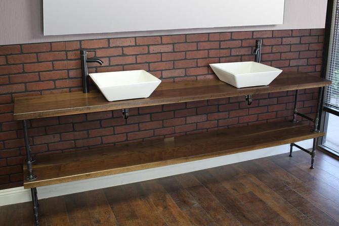 Bathroom Vanity with Pipe / Industrial restroom / Pipe Vanity / Rustic Furniture / Industrial Furntiture / Free Standing by TheRusticForest