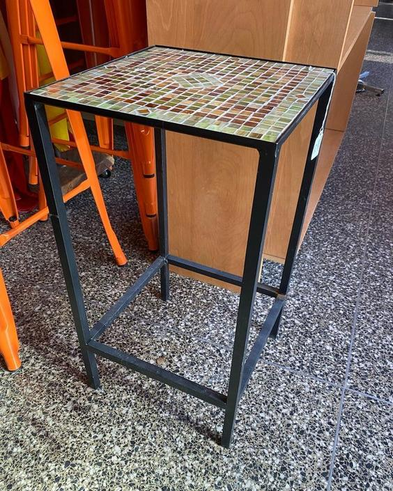 """Beautiful mosaic table, perfect for plants or as an outdoor side table, 12""""L x 12""""W x 23""""T,"""
