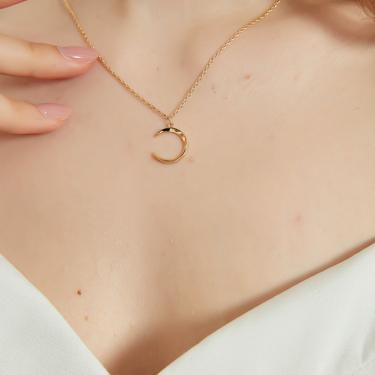 Maria gold moon crescent pendant necklace, gold crescent pendant necklace, gold moon necklace, dainty gold necklace, dainty pendant necklace by MelangeBlancDesigns