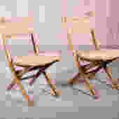 Hans Wegner-Style Rush Folding Chairs