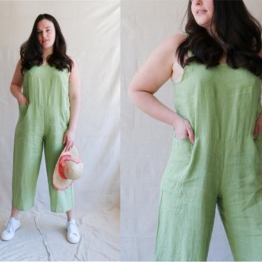 Vintage Flax Linen Jumpsuit/ 90s Y2K Lightweight Green Summer Romper/ Size Large XL by bottleofbread
