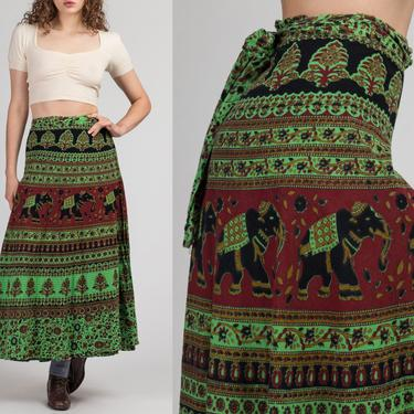 70s Green Boho Indian Block Print Wrap Skirt -  | Vintage Hippie Elephant Batik Cotton Floral A Line Maxi by FlyingAppleVintage