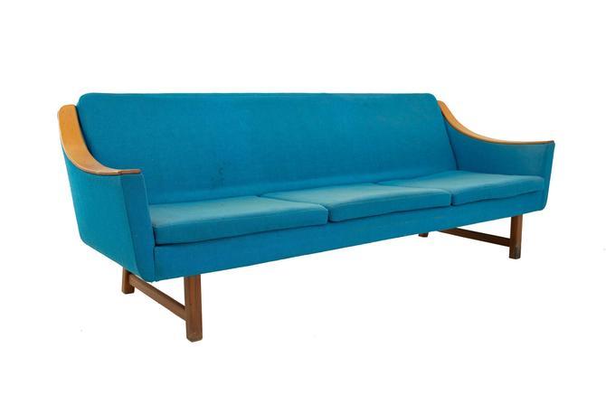 Dux Style Mid Century Teak & Teal Sleeper Sofa - mcm by ModernHill
