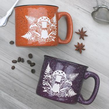 Mushrooms + Ferns Mug - engraved ceramic camp mugs by BreadandBadger