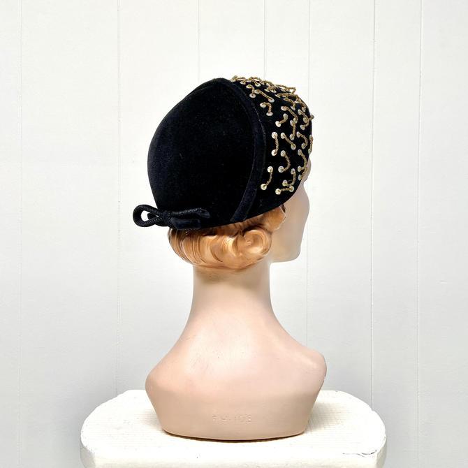 Vintage 1950s Black Flamand Velour Hat, 50s Beaded Felt Bonnet, Mid-Century Cocktail Hat, One Size by RanchQueenVintage
