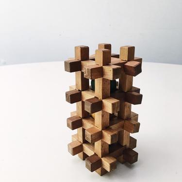 Mini Architectural Puzzle Sculpture Teak Danish Mid Century Vintage Rare by CaribeCasualShop