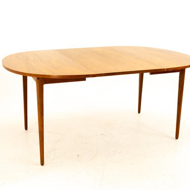 Kipp Stewart for Drexel Declaration Mid Century Expanding Round Walnut Dining Table with 2 Leaves - mcm by ModernHill