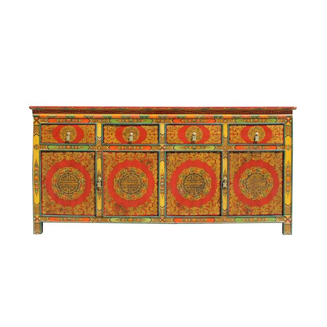 Chinese Tibetan Color Flower Graphic Credenza Sideboard Console Cabinet cs5781S