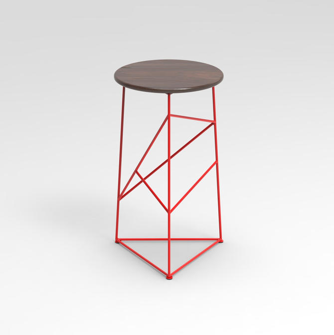 Stool,  Modern Steel Bar Stool in a Red  Finish with Solid Walnut Seat by JumpFurniture