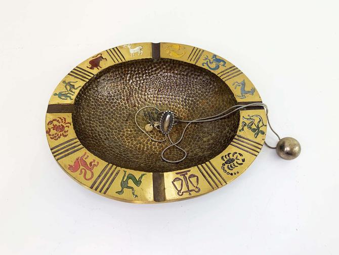 Vintage Brass Oppenheim Ashtray Zodiac Signs Astrology Israel Oval Dish Jewelry Holder Trinket Bowl 1970s 70s Boho Horoscope Signs by CheckEngineVintage