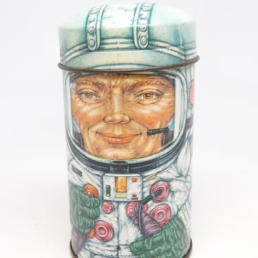 Vintage Cap Tins Astronaut Tin, NASA Space Travel, Outer Space, Daher Tin, English Candy Container by exploremag