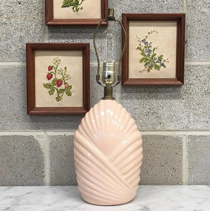Vintage Table Lamp Retro 1980s Contemporary + Ceramic + Art Deco Revival + Pale Dusty Peach + Wave Design + Mood Lighting + Home Decor by RetrospectVintage215