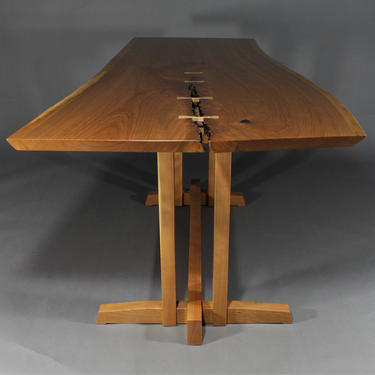 Live edge solid cherry desk or dining table inspired by Genorge Nakashima Frenchman Cove by GRWoodworker