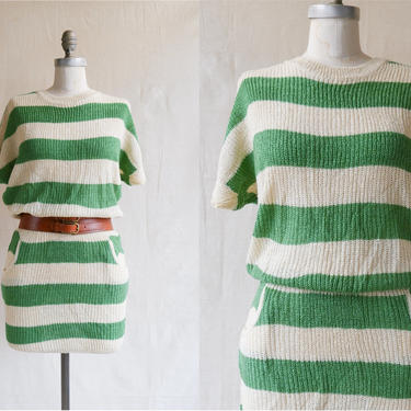 Vintage Striped Knit Mini Dress/ 1980s Green Ivory Wide Stripe Tunic Top with Pockets/ Size Small Medium by bottleofbread