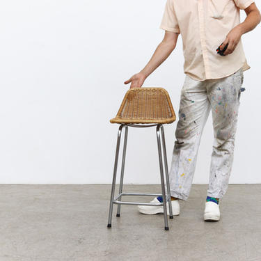 Charlotte Perriand Style Wicker Bar Stool with Chrome Legs