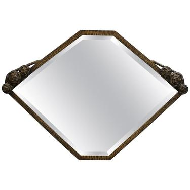 French Art Deco Mirror In Hand Wrought Iron With Bronze Finish From