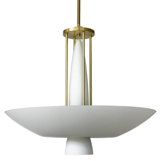 Lightolier Brass White Glass Chandelier