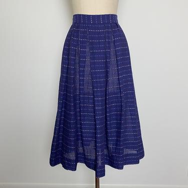 Vintage 1940s Cotton Skirt 40s Blue Full Skirt by littlestarsvintage