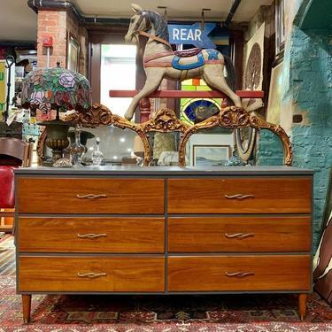 Updated 6 drawer midcentury dresser (gray/cherry)