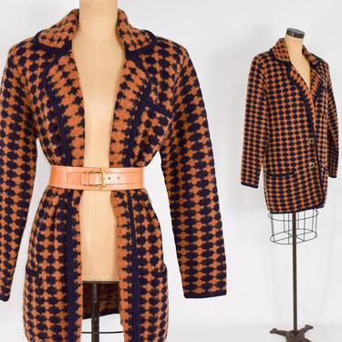 1980s Brown & Black Mohair Sweater Jacket   80s Black Brown Harlequin Sweater Coat   Marisa Christina   Large by GlennasVintageShop