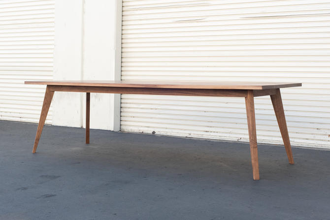 Rectangle Solid Walnut Mid Century Tapered Leg Dinning Table by ADCOWoodWorks
