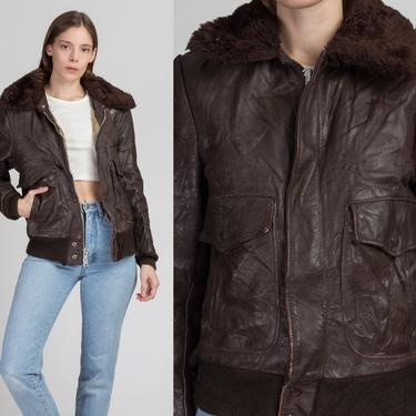 70s Excelled Brown Leather Flight Jacket - Men's Small   Vintage Distressed Faux Fur Collar Aviator Bomber Coat by FlyingAppleVintage