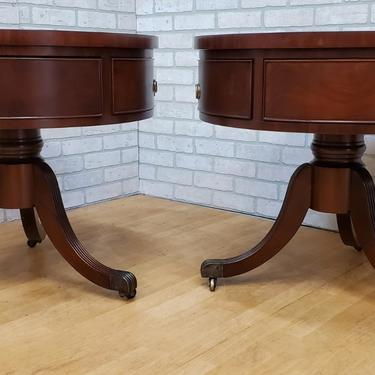 Vintage Inlaid Leather Top Single Drawer Mahogany Drum Side/End Tables - Pair