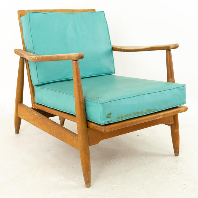 Kofod Larsen Style Mid Century Teal Armchair Lounge Chair - mcm by ModernHill