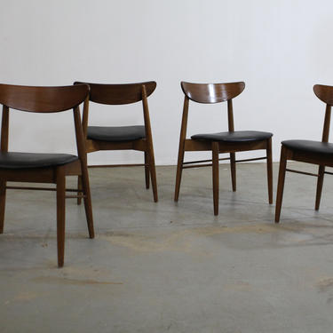 Set of 4 Mid-Century Modern H Paul Browning Shell Back Walnut Dining Chairs by AnnexMarketplace