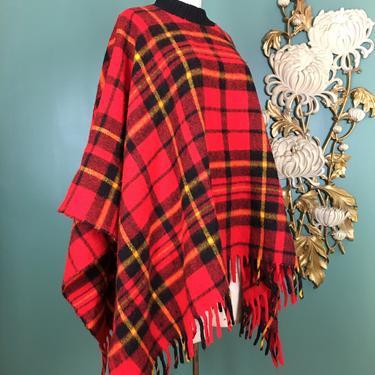 1970s poncho, red plaid cape, blanket coat, vintage poncho, tartan, one size, fringe trim, 1970s cape, vintage cape, mock neck, mod jacket by BlackLabelVintageWA