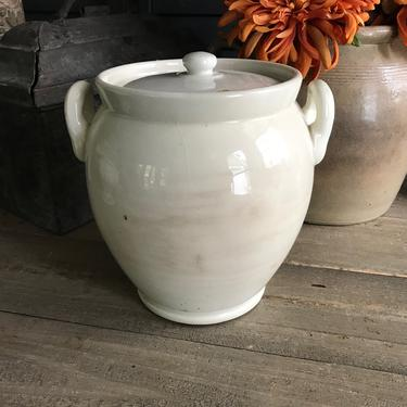 French White Confit Jar, Lidded, White Stoneware Crock Pot, Utensil Storage, Artist, Vase, Rustic French Farmhouse Cuisine, Farm Table by JansVintageStuff