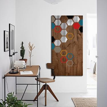 Wood Wall Art, Metal Wall Art, Modern Art Painting, Geometric Art, Mid Century Modern Minimalist Large Contemporary Abstract Sculpture by LauraAshleyWoodArt