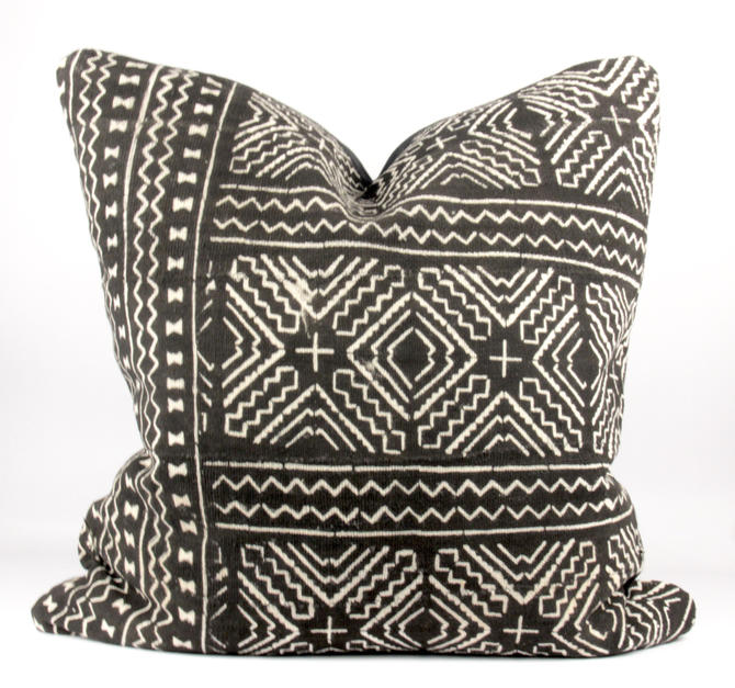 "Chic Black Mudcloth Pillow  24"" x 24"""