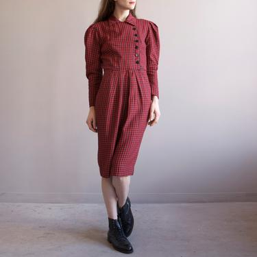 red & black gingham puff shoulders dress / 40s style check dress / size XS S by EELT