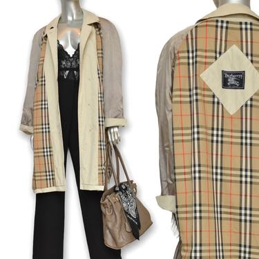 Vintage Burberry's London Khaki Raincoat Lightweight Cotton Trench Coat Size L/XL by TheUnapologeticSoul