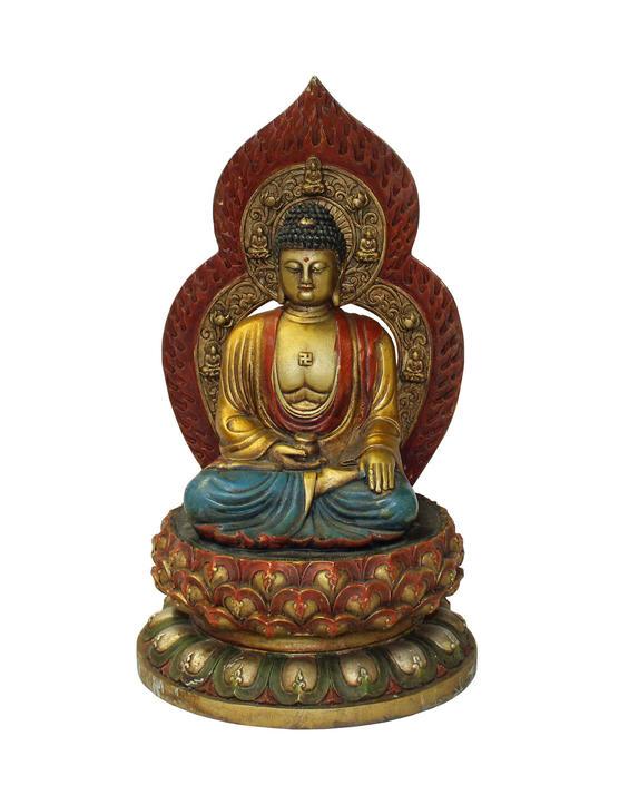 Chinese Golden Paint Relief Motif Dressing Metal Sitting Amitabha Buddha Statue cs3210E by GoldenLotusAntiques