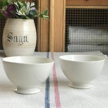 Lovely set of 2 white petite vintage Dutch cafe au lait bowl by Grainsacfrenchvintag