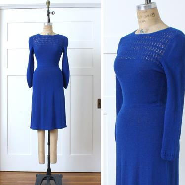 vintage 1970s knit dress in bright electric blue • long puff sleeve sweater dress with midi length skirt by LivingThreadsVintage