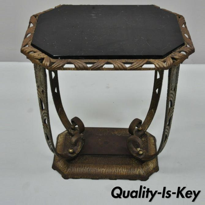 Antique Art Deco Cast Iron Verona 475 Black Glass Accent Side Occasional Table
