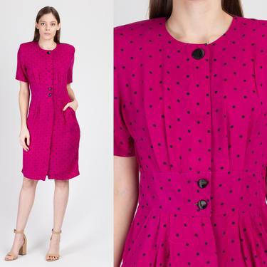 80s Bright Pink Polka Dot Dress - Medium   Vintage Button Up Secretary Fitted Waist Midi by FlyingAppleVintage