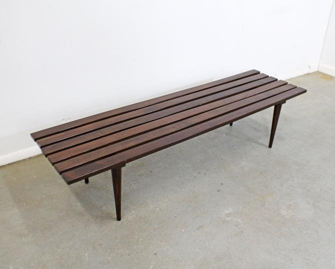 "Mid-Century Danish Modern Walnut Slat Bench Coffee Table 60"" by AnnexMarketplace"
