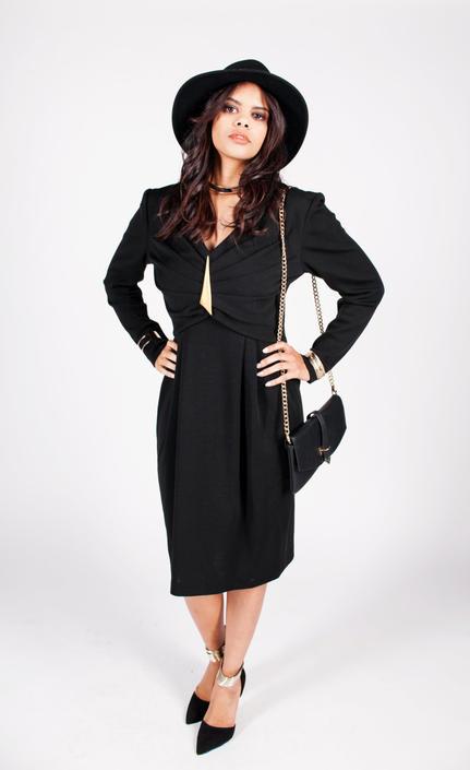 Vintage 1980s Black Wool Embellished Dress w/ Gold Brooch by UnfadedEra