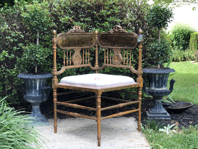 Antique French Gold Gilt and Linen Corner Chair by AnticaMarket
