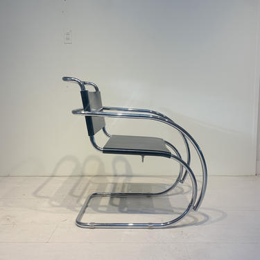 Vintage Mid Century Armchair in Leather and Steel, in the style of Ludwig Mies van der Rohe's MR Chair by XcapeVintage