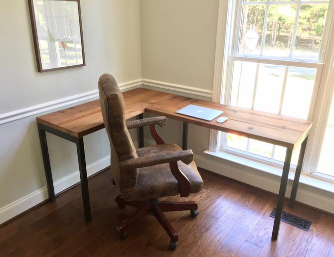 "The ""Sawyer"" L-Shaped Desk - Reclaimed Wood & Steel - Industrial Desk - Custom Lengths by arcandtimber"