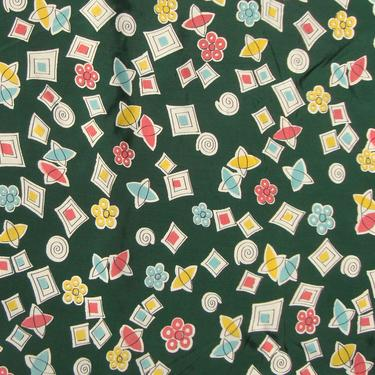 Vintage 30s Rayon Dress Fabric Art Deco Novelty Print 7.5 Yds by MetroRetroVintage