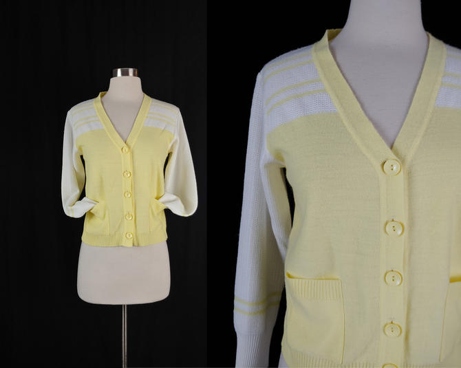 Vintage Seventies Yellow and White Cardigan Sweater - 70s Acrylic Knit Small Women's Button Front Cardigan by JanetandJaneVintage