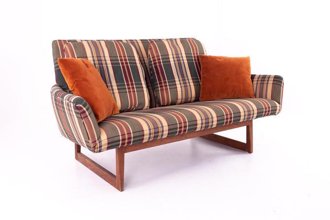 Jens Risom Mid Century Walnut Sled Base Settler Sofa - mcm by ModernHill