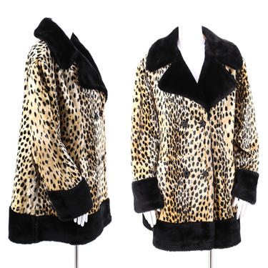 50s 60s vintage leopard print faux fur coat XL  / vintage cheetah plush fur flared A line swing coat 1960s 50s size XL by ritualvintage