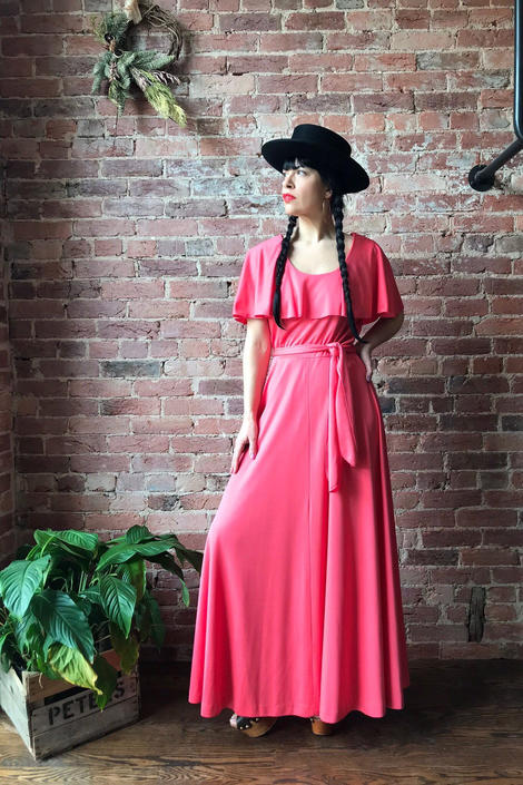 vintage 70s disco maxi dress | ALISON AYERS Original polyester drape collar belted gown by LosGitanosVintage